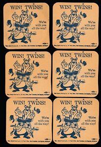 1960's Minnesota Twins Hamm's Beer Coasters (6) Win! Twins! Hamm's Bear