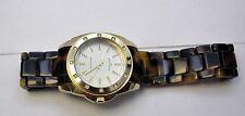 Anne Klein Women's Swarovski Crystal Accented Gold Tortoise Resin Bracelet Watch