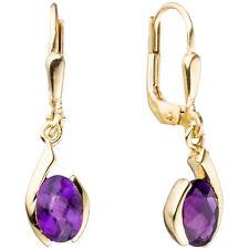 Boutons 333 Gold Gelbgold 2 AMETHYSTE violett lila Ohrringe Ohrhänger 44907