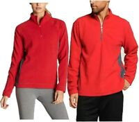 Alo Quality Yoga Gym Men Women Soft Warm Micro Fleece 1/4 Zip Pullover Red Blue