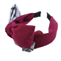 Womens Girls Fabric Sweet Big Ribbon Bow Non-slip Wide Hair Band Headband BB