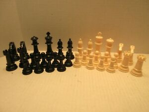 Set of Plastic Chess Pieces Black and White No Board No Marking Game Toys Parts