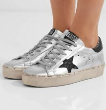 GOLDEN GOOSE HI STAR Glittered Distressed Metallic Silver Leather Sneakers Sz 39