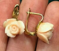 14k Yellow Gold Carved Peach Coral Rose-Bud Flower Earrings. Leverback--K9L8J