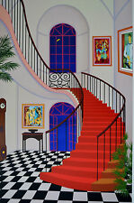FANCH LEDAN INTERIOR WITH RED STAIRCASE SERIGRAPH SIGNED #427/450 W/COA 23X34
