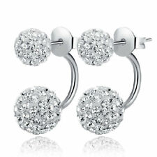 Womens Double Crystal Earrings Round Silver Stud Drop Dangle 925 Sterling Silver