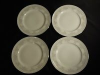4 Johann Haviland Bavaria Germany Platinum Rim Floral Dinner Plates