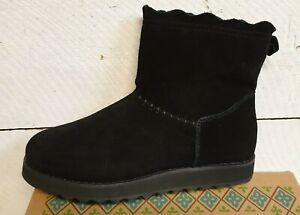 Ladies Skechers 44625 Simple One Short Black Suede Pull On Boots