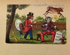 Antique Victorian Scrap/Card Album Page Anthropomorphic Cat Dog Rhyme Die Cut
