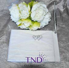 GUEST BOOK AND PEN SET WITH WHITE ORGANZA RUFFLE & RHINESTONE INTERLOCKING HEART