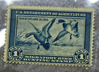 1934 Migratory Bird Duck Hunting US Stamp $1 Blue RW1 No Gum USED No Cancel A25J
