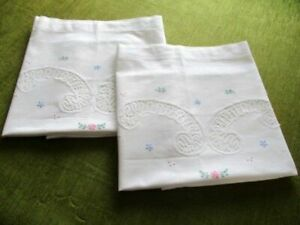 PR.VINTAGE PILLOWCASES with HAND EMBROIDEREY & LACE DECORATION