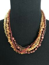 Multi Strand Necklace Pretty Beads Gold Tone Brown Rust