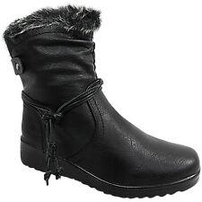 Ladies Womens Low Wedge Heel Fur Lined Ankle Boots Shoes Zip Winter Tassel Size
