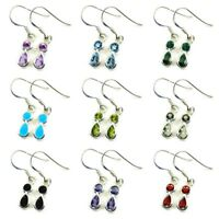 Natural Gemstone 925 Silver Earings For Women Mixed Cut Fish Hook Back Handmade