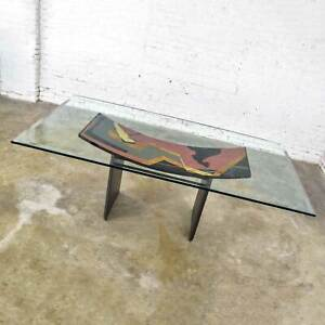 Italian Dining Table by Pietro Costantini Black Lacquer & Geometric Inlay