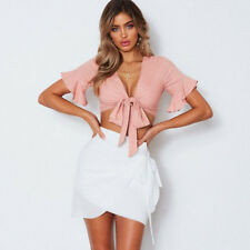 Fashion Women Casual Tank Crop Tops Vest Blouse Off Shoulder Long Sleeve T-Shirt