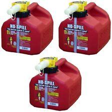 (3) ea No Spill 1415 1-1/4 Gallon Carb Compliant Gas Gasoline Fuel Cans