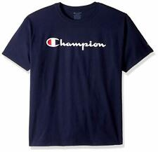 Champion Authentic Men Classic Jersey Script Tee Shirt /Navy /X Large.