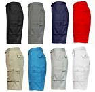 Men's Cotton Blend Classic Fit Flat Front Belted Cargo Shorts