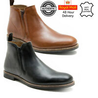 Mens Leather Chelsea Boot Dealer Ankle Smart Italian Casual Slip On Army Size