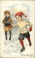 New Year - Children Ice Skating c1910 Postcard 35D