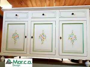 Base 3 Doors White Decorated CMS 150x43x97H