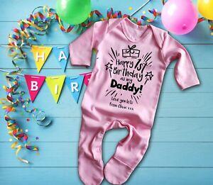 Happy 1st birthday as my Daddy pink long sleeve rompersuit sleepsuit baby grow