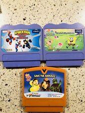 VTech V.Smile Cartridge LOT OF 3 Learning Games Spider-Man, Sponge Bob.....