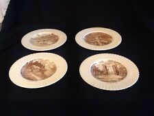 Set of 4  Royal Cauldon England Transferware Thamese Boat House Ludlow Castle +
