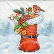 4x PAPER NAPKINS for Decoupage CHRISTMAS BOOT ROBIN PRESENTS