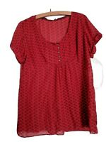 WHITE  STUFF TOP, SIZE 16, BUST 42, RED WITH BIRD PRINT, SHORT SLEEVE