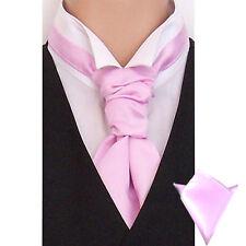 New Italian Plain Satin Cravat For Men With Hanky - Pre Tied