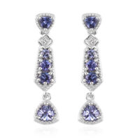 925 Sterling Silver Platinum Over Blue Tanzanite Dangle Drop Earrings Ct 0.9