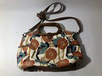 Floral Relic Canvas Handbag With Wooden Handles And Shoulder Strap