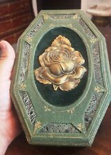 Vintage Antique Jewelry Box White Leather and silk Green