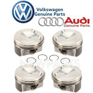 For Audi A3 A4 A5 TT Quattro Q3 Q5 VW Jetta Set oF 4 Piston w/ Rings Genuine