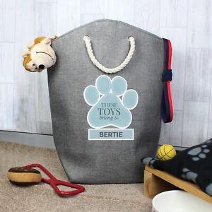 Personalised Dog Toys Storage Bags - Boys, Blue Paw Print Design, Tidy Bag