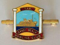 Sandy Beach Tasmania Bowling Club Badge Rare Vintage (M3)