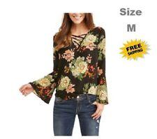 Cure Women's Floral Print Cross Front Blouse Size M