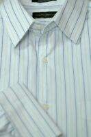 Joseph Abboud Men's White & Light Blue Stripe Cotton Dress Shirt 16.5 x 35