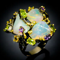 One of a kind Design  Natural Opal 925 Sterling Silver Ring Size 8/R70681