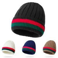 Ladies Men Women Cap Stripe Knitted Warm Cotton Winter Autumn Casual Beanie Hat