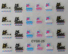 Nail art manucure stickers autocollants ongles: résille fleurs multicolores