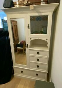 Arts and Crafts/ art nouveau glass mirror fronted wardrobe