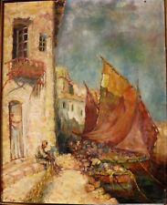 Fishing port- Oil on canvas - signed by Katherine Bennett early 20th century