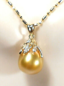 golden South Sea pearl pendant, diamonds, solid 14k yellow gold(SPECIAL OFFER)