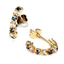 Earrings Color Gold Small Rings Crystal Blue White Jewel Earring