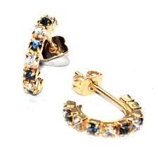 Boucles d'oreilles couleur or petits anneaux cristal bleu blanc bijou earring