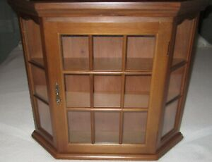 Angled Wood Curio Box Display Case Wall Cabinet w/Glass Door & Glass Ends